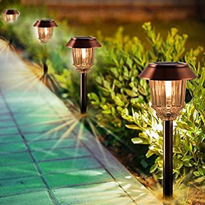 Quality Solar LED Garden Steel//Plastic Lights x 5